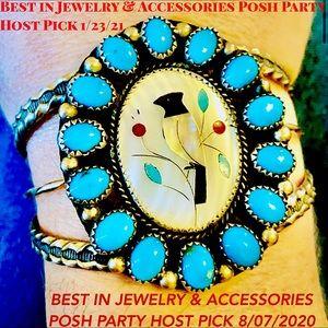 2XHP💕Vintage Navajo Turquoise MOP Inlay .925 Cuff